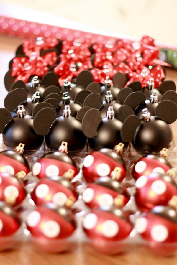 Mickey & Minnie Mouse Christmas Ornaments! by corina/// no tut/// black ornaments dipped in red w/buttons, black foam ears, red polka dot ribbon