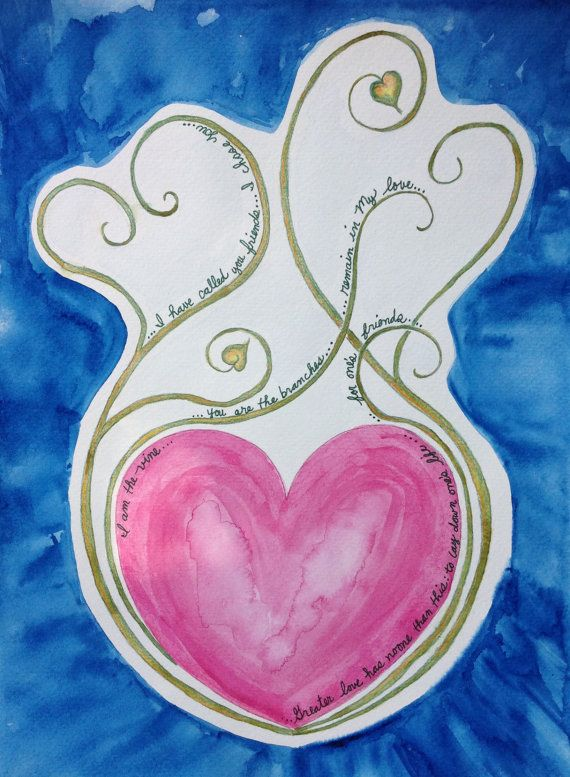 Original Watercolor Painting No Greater Love by KingdomCreatives, $75.00