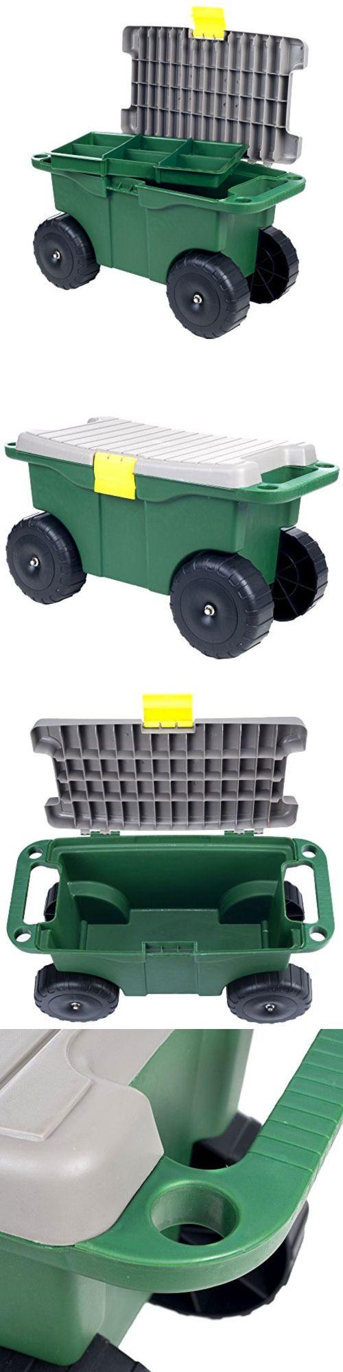 Garden Kneelers Pads And Seats 75669: 20 Inch Plastic Garden Storage Cart  And Rolling Garden