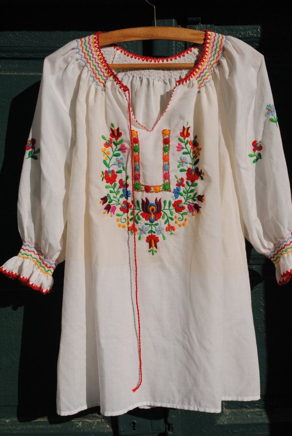 Peasant blouse, embroidered blouse, embroidered peasant blouse,  kalocsai blouse, Hungarian peasant blouse, colorful blouse, festival blouse