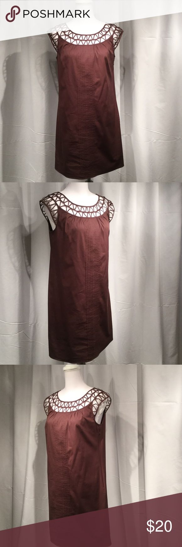 "Cap Sleeve Brown Sack Dress with lace collar Perfect "" Weekend Dress"" by Ann Taylor Very comfortable Sack Dress with lace collar and cap sleeves.  Very comfortable, very light weight.  Perfect for a summer day Ann Taylor Dresses Midi"