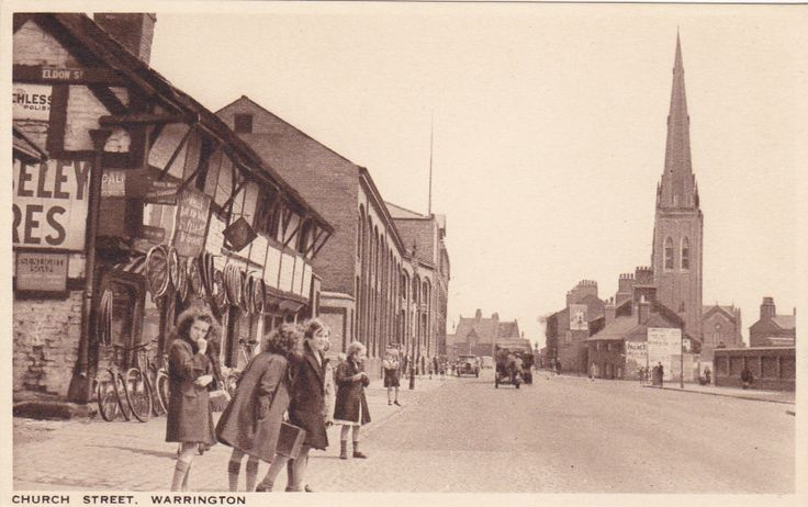 Warrington, Church Street. The half timbered house on the left is still there.