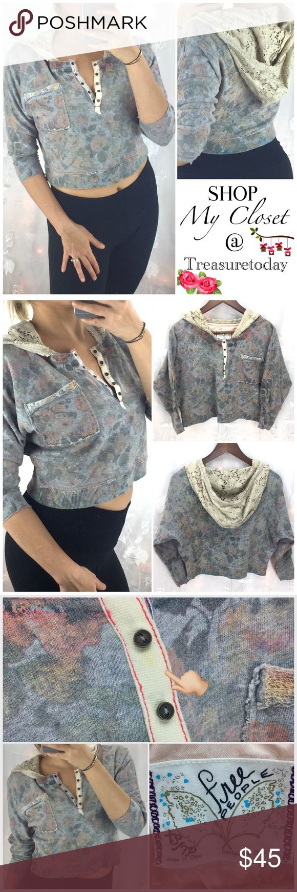 Free People Floral Batwing Crop Top + Crochet Hood So adorable! Very rare and hard to find. Faded floral print on a batwing Crop Top with beige crochet hood. 3/4 sleeves, front button up closure. One tiny , not noticeable spot shown in last picture. Can't see it but just wanted to mention- will come out. Fits up to size medium. Feel free to ask any question, I'm here to help! 🎉Offers welcome 🎉 Bundle 2 or more items and get %10 off instantly💕 all pictures are taken by me Free People Tops…