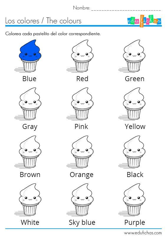 Los colores en inglés. Ficha coloreable  http://www.edufichas.com/actividades/idiomas/ingles/aprender-los-colores-en-ingles/  #learn #colors #kids
