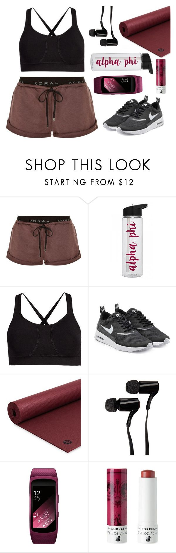"""Alpha Phi"" by lovelisa1997 ❤ liked on Polyvore featuring Koral, Tasc Performance, NIKE, Manduka, Outdoor Tech, Samsung, Korres, gym, gymessentials and gymbeauty"