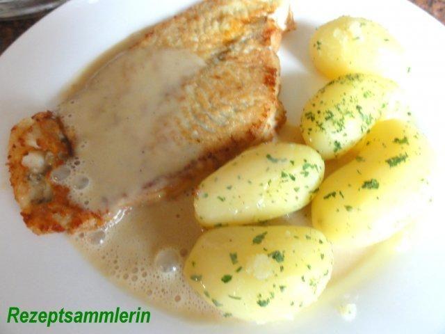 Fisch: SCHOLLENFILET an Senfsauce