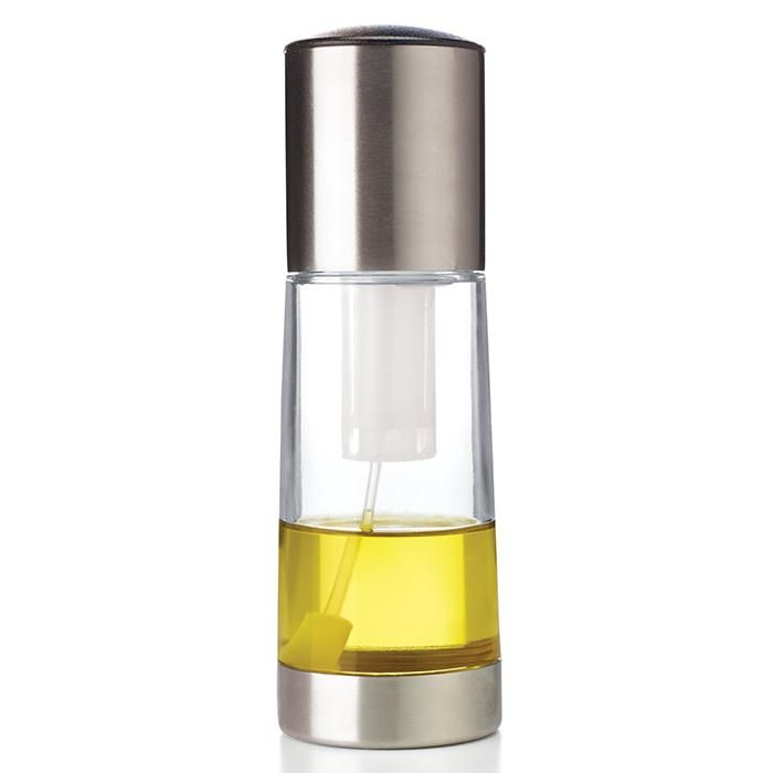 "Can be used to grease pans or spray flavor directly onto foods. Add herbs to infuse oil. Hand wash only. 6 3/4"" H x 2 1/4"" diam. Plastic with stainless steel. Imported."
