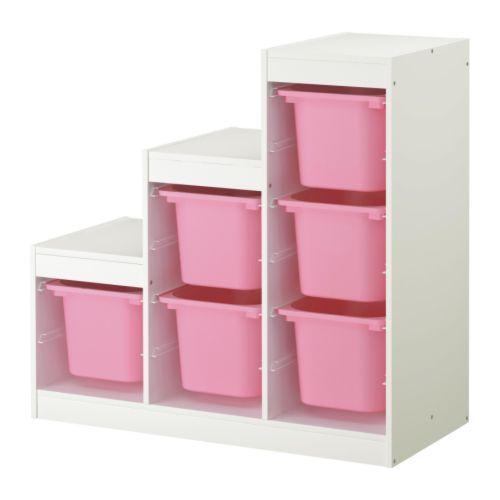 TROFAST Combinazione di mobili IKEA Una serie allegra e resistente per tenere in ordine i giocattoli, sedersi, giocare e rilassarsi.