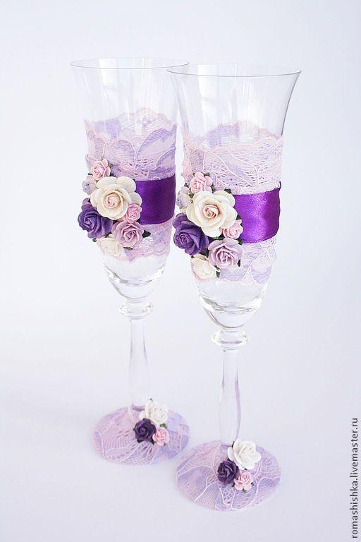 """Купить Свадебные бокалы """"Богемия"""" - Бокалы, свадебные бокалы, свадебные фужеры, бокалы для молодоженов, бирюзовый"""