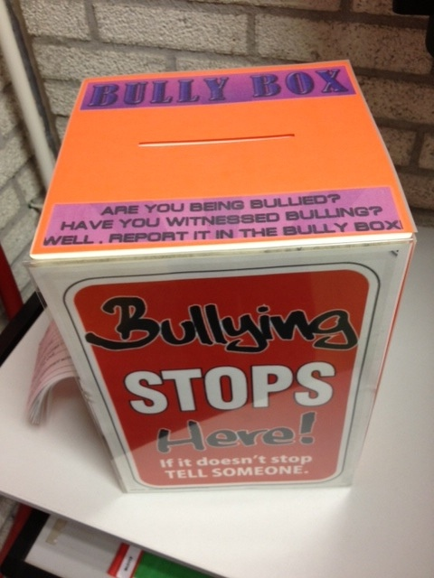 We recently added a Bully Box to a corner in the library. Students can anonymously (or otherwise) place a note in this box explaining a bully situation they witnessed or experienced. Ever since we installed the box it has been used regularly by student who would otherwise not say anything about bullying situations. We read the note they pass it on to our Counsellor.
