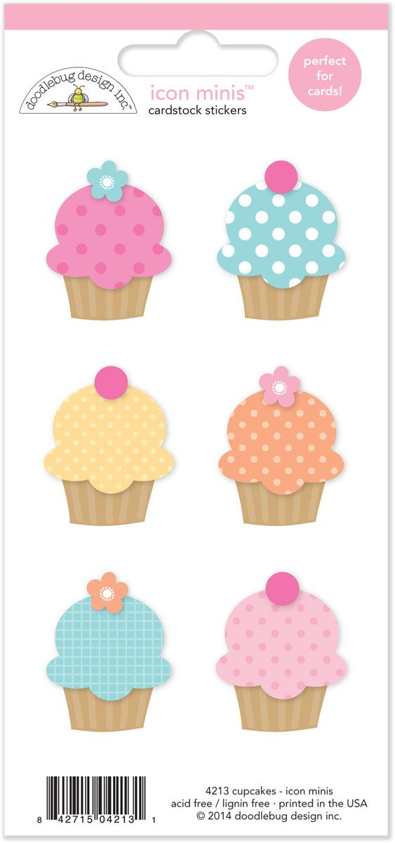 Sugar Shoppe Collection Launch Party+ Giveaway with Doodlebug Design - check out these cute Cupcakes Icon Minis card stock stickers