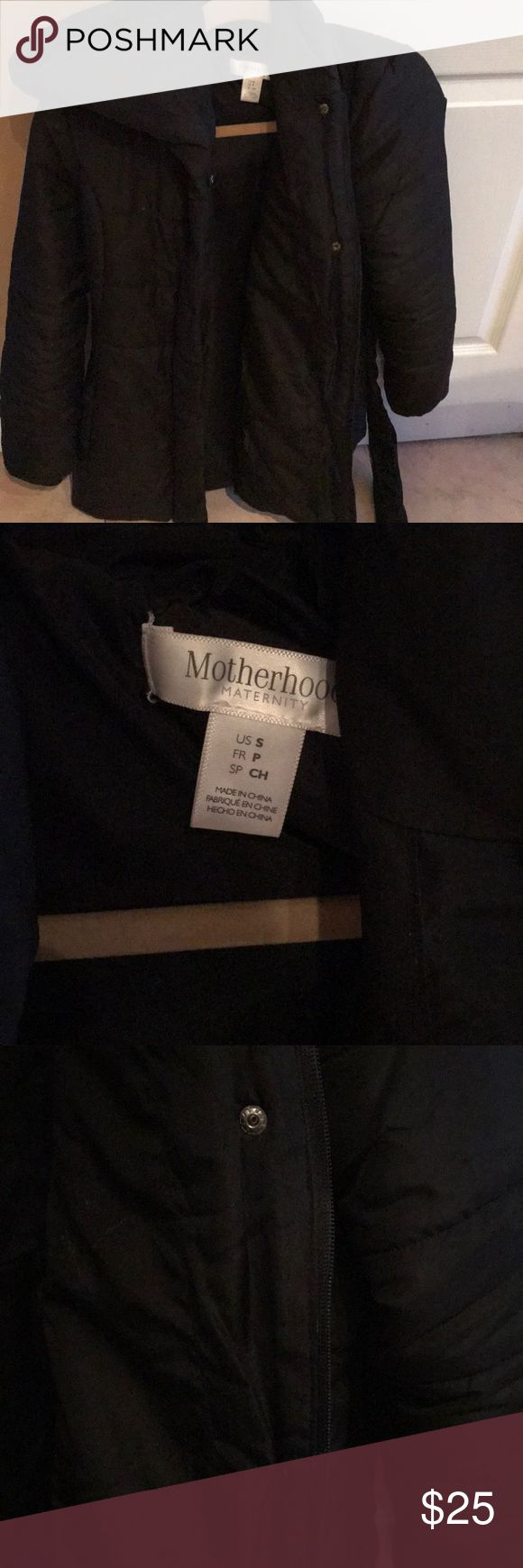 Motherhood maternity jacket size small Maternity jacket on the lighter side with hood. Has  zipper and buttons. Also has detachable strap Motherhood Maternity Jackets & Coats