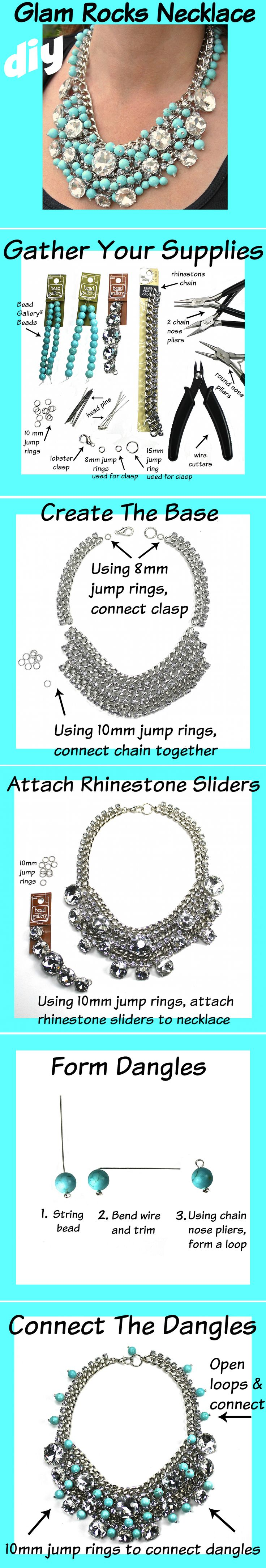 Create your own one-of-a-kind DIY Glam Rock Necklace with these easy steps
