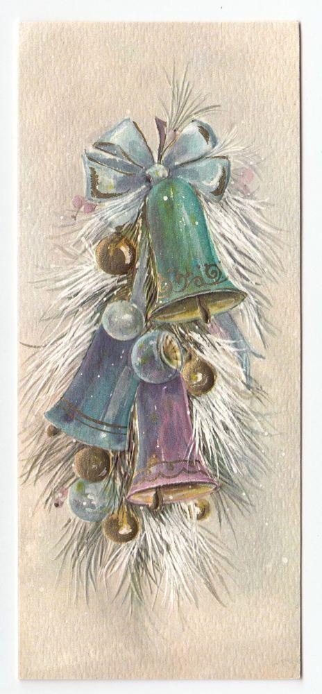 Vintage Greeting Card Christmas Bells Hallmark Slim Jims Mid-Century