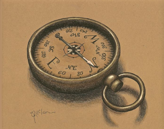 """""""Finding Your Way"""", compass on Classic brown Kona Paper by Global Art Materials using Faber Castell artist watercolor pencils"""