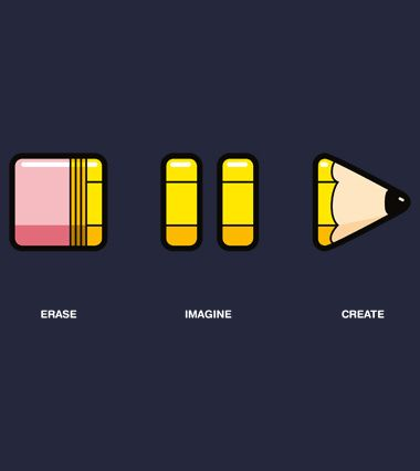 i like this because its quite a simple yet original design the sectioned pencil looks like stop pause and play on a remote control the erase word - Ideas For T Shirt Designs