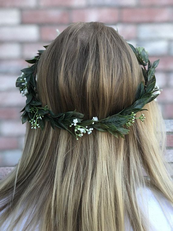 Baby breath, greenery crown , bridal headpiece , wedding crown , boho flower crown , halo greenery crown