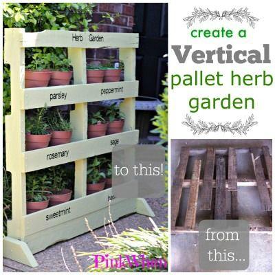 17 best ideas about herb garden pallet on pinterest for Vertical pallet garden bed