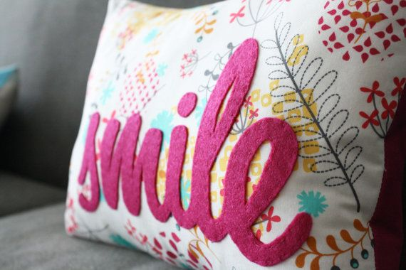 Floral Smile PIllow by HoneyPieDesign on Etsy, $44.00 I would love this for my desk chair!!