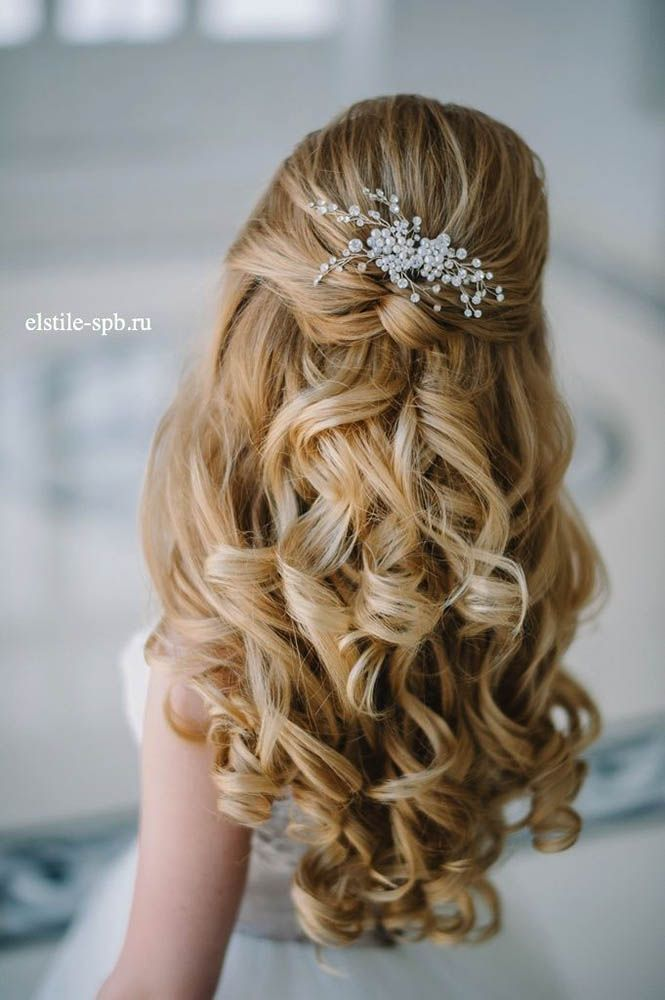 18 Stunning Half Up Half Down Wedding Hairstyles ❤ These elegant curly half up/half down hairstyles look amazing with hair accessories or on their own. See more: http://www.weddingforward.com/half-up-half-down-wedding-hairstyles-ideas/ #wedding #bride #weddinghairstyles