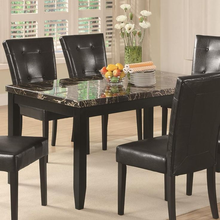 Lovely Coaster Anisa Dining Table With Black Faux Stone Top   Item Number: 102791