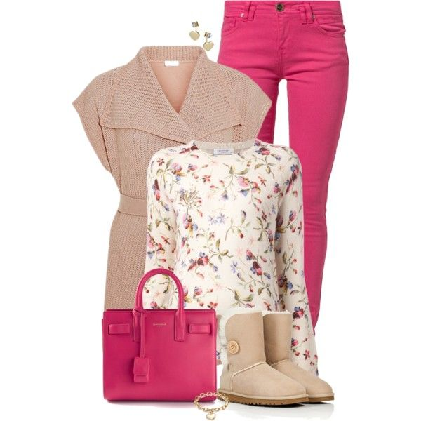 Floral top & bright pants by ginga1203 on Polyvore featuring moda, Equipment, Escada Sport, Morgan, UGG Australia, Yves Saint Laurent, Blue Nile and Miss Selfridge