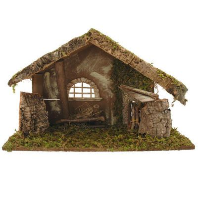 """Handcrafted in Italy, this large wooden nativity stable with arched window measures approximately 12½"""" tall x 19½"""" long x 8"""" deep. Built with rustic details that include real twigs, a moss roof and floor, and an arching """"stone"""" window rendered in resin, this exceptionally well made stable is the perfect stage for your favorite nativity figures!"""