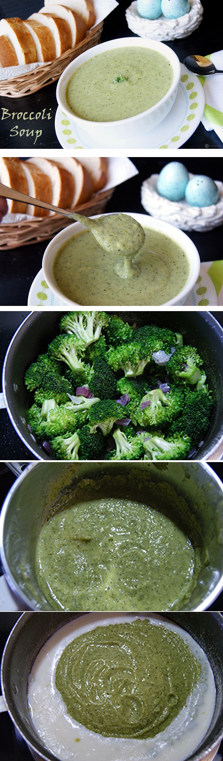 An easy and healthy broccoli soup to reap all the wonderful health benefits and flavor from the humble broccoli. This soup does not use any fresh cream but is naturally thick and creamy. Vegans can use vegan butter/ olive oil instead of regular butter and use a non-dairy milk.