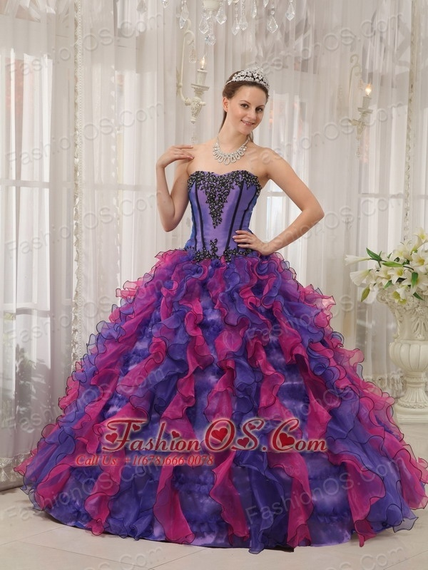 Classical Multi-colored Quinceanera Dress Sweetheart Organza Appliques Ball Gown  http://www.fashionos.com  This multi-coloreddress issurely conquer countless heart of the girls. It features a sweetheart necknine and a sheathy bodice. The appliques on the bodice adds the charming of the dress. The gorgeous A-line skirt is made from many scraps of various colored scraps, which add to its beauty, fullness and lovely shape.