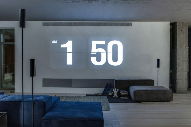 Loft: Cool Urban Loft in Kiev, Ukraine Designed by 2B Group, Impressive Urban Loft Living Room Concept with Huge White Wall Paint Color Can be as Screen by 2B Group