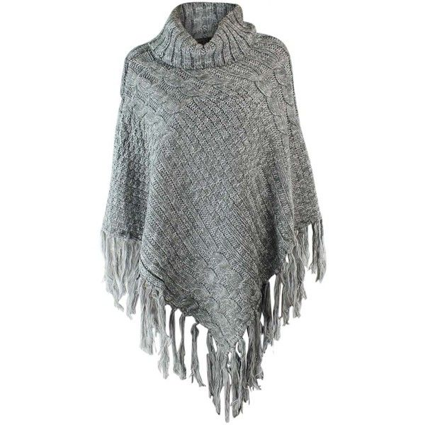 Gray Thick Knit Luxury Turtleneck Poncho With Fringe ($35) ❤ liked on Polyvore featuring outerwear, grey, poncho shawls, grey shawl, long poncho, shawl poncho, turtle neck poncho and poncho shawl