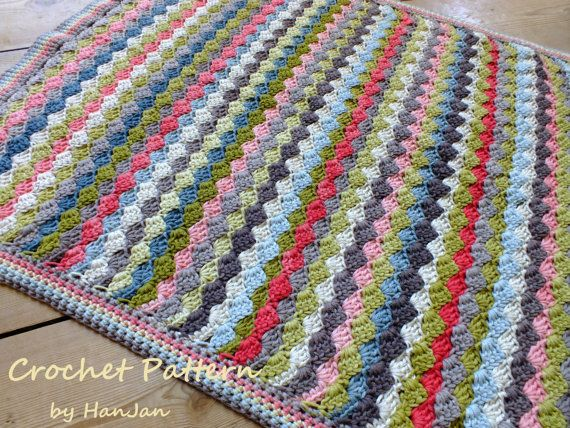 Instant Download PDF Crochet Pattern:  Multi Colour Weave Baby Blanket Throw US instructions with HanJan crochet tutorial
