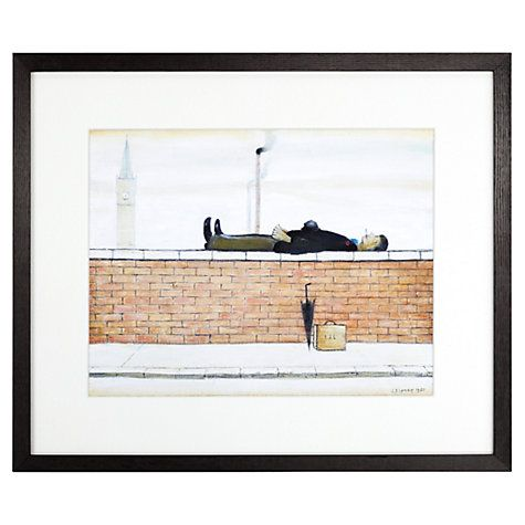 Buy LS Lowry - Man Lying On A Wall Framed Print, 36 x 42.6cm Online at johnlewis.com