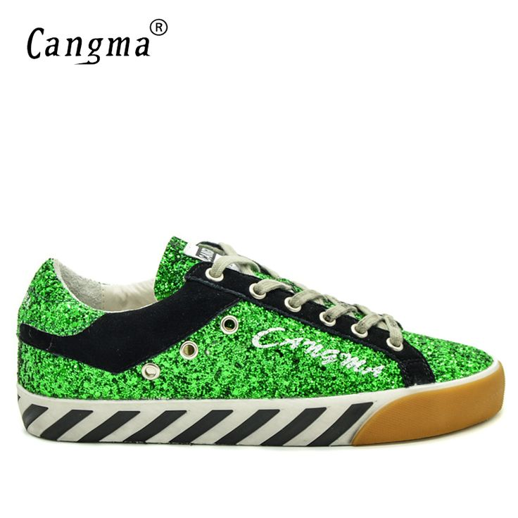 CANGMA Italian Brand Stella Sequin Men Shoes Delicate Green Paillette Classic Man Leisure Shoes Zapatos Casuales Plus Size 2017 #Affiliate
