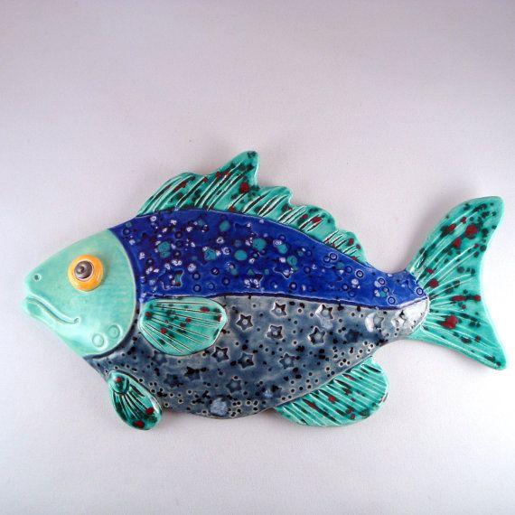 Whimsical Ceramic Fish Decorative wall hanging