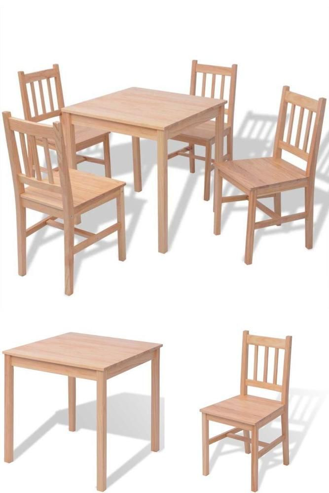 4 Seater Dining Table Set Wooden Chairs Kitchen Room Seating