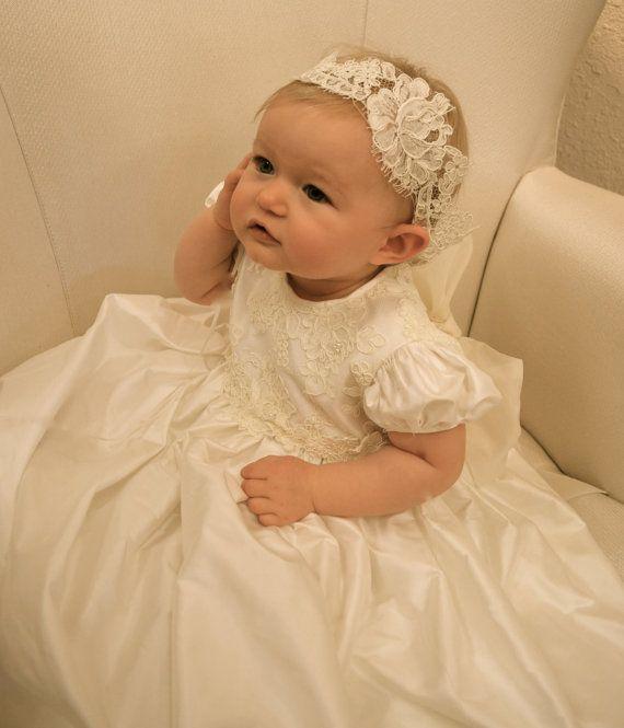 Baby Christening Headband Baby Baptism Headband by CouturesbyLaura