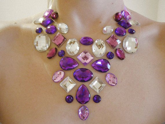 Purple Floating Rhinestone Statement Necklace, Floating Gem Necklace, Rhinestone…