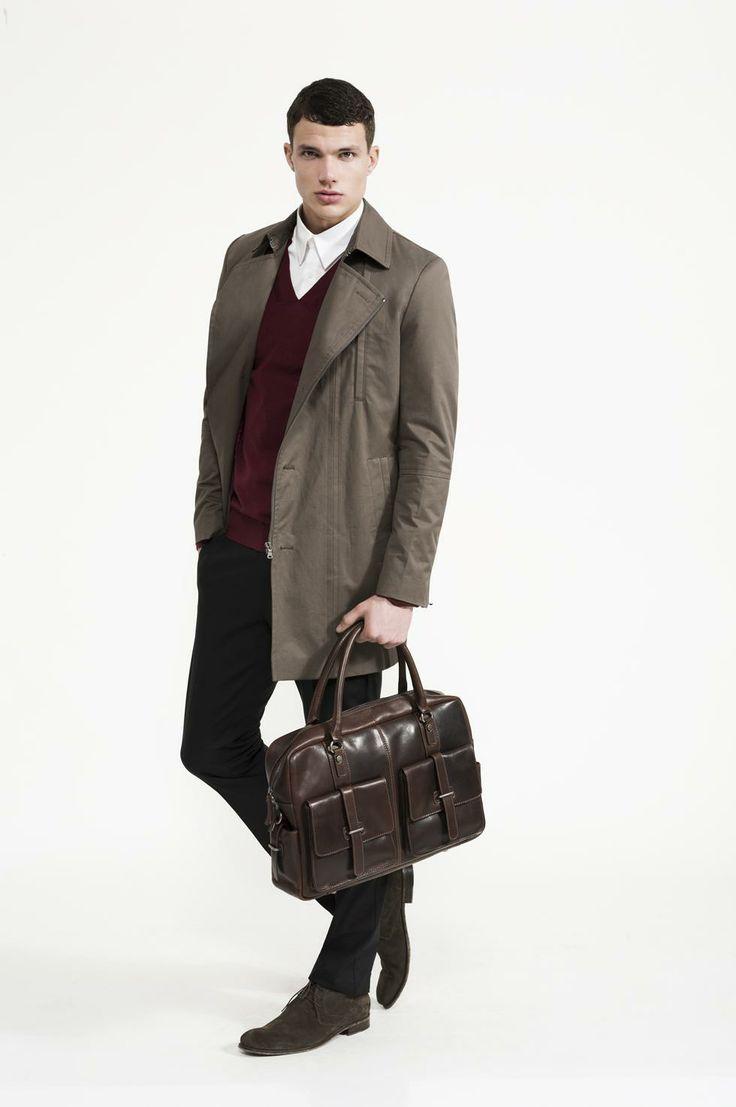 Calibre - Stretch Two Shirt | Khaki Zip Trench | Merino Deep V | Black Stretch Pant | Desert Boot | Ark Leather Briefcase