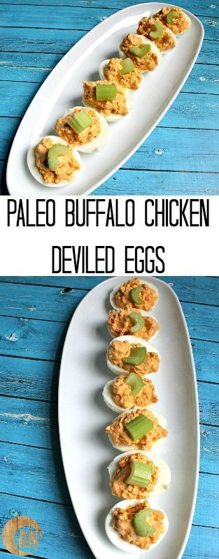 Paleo Buffalo Chicken Deviled Eggs - these make a great snack and are perfect to take to spring & summer cookouts!