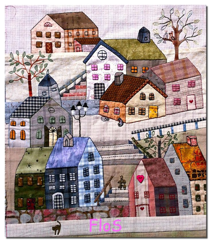 "appliquéd houses quilt block, ""yoko saïto façon régine/régine style of yoko saïto"", from the chez princesse nounouche blog"
