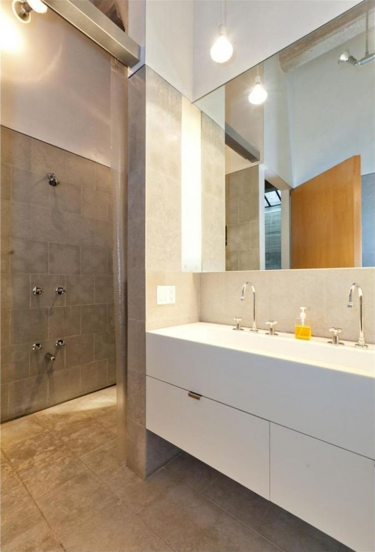 Loft : Two Floor Loft Idea with Three Bedroom in West Village New York City - Small Modern Loft Bathroom in West Village with Frameless Mirror and Floating Vanity Sink also Pendant Bulb and Shower Area and Ceramic Backsplash Tile medium version