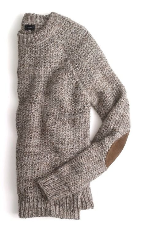 Elbow patches + grey wooly textured