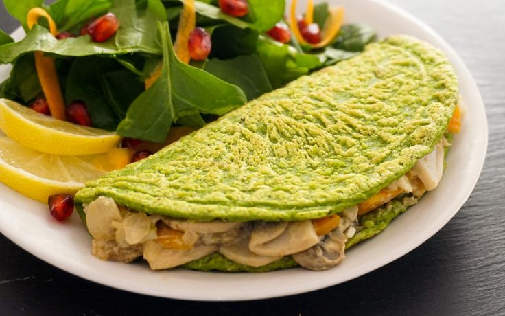 <p>This omelet is made from white beans and oats and is jam-packed with nourishing ingredients like fresh spinach — and the creamy mushroom filling couldn't be any more tasty!</p>