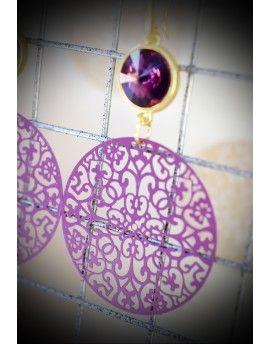 Σκουλαρίκια Purple Circles & Swarovski Stones