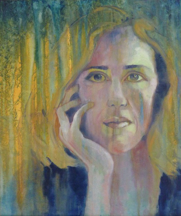 Self portrait oil and acrylic on canvas