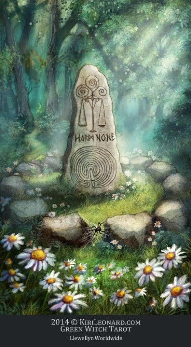 Green Witch Tarot:  The Standing Stone / Justice
