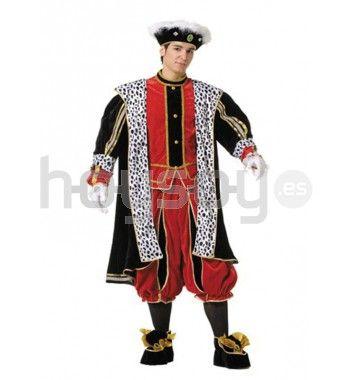 Completo y elaborado #disfraz de paje del Rey #Melchor. Ideal para cabalgatas de Reyes Magos y para tus fiestas navidades. Compuesto por chaqueta, casaca, pantalón, cubrebotas y gorro #Navidad #Disfraces