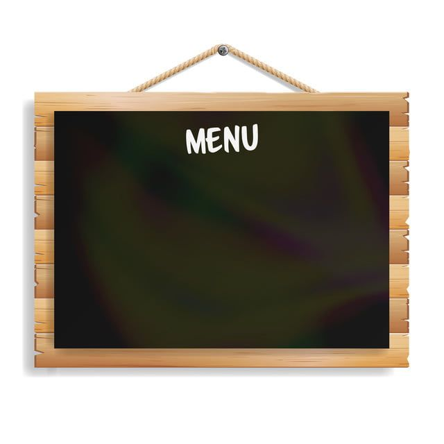Menu Board Cafe Or Restaurant Menu Bulletin Black Board Isolated On White Background Realistic Black Signboard Chalkboard With Wooden Frame Hanging Vector Illus Papan Menu Tanda Kayu Papan Tulis
