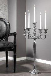Großer Barock Kerzenständer 5-armig Lüster 80cm Aluminium poliert Kerzenhalter
